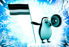 3d penguin with flag and loud speaker illustration Stock Image