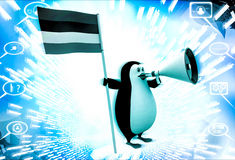 3d penguin with flag and loud speaker illustration Stock Photography