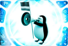 3d penguin with flag and loud speaker illustration Royalty Free Stock Photos