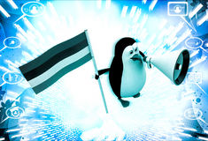 3d penguin with flag and loud speaker illustration Royalty Free Stock Photography