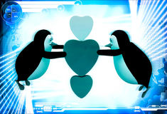 3d penguin flying and holding three hearts illustration Stock Image