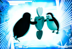 3d penguin flying and holding three hearts illustration Stock Photography