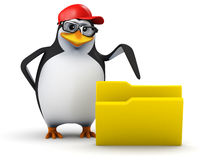 3d Penguin folder Royalty Free Stock Image