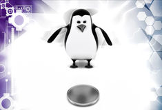 3d penguin found coin illustration Stock Images