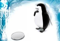 3d penguin found coin illustration Stock Photo