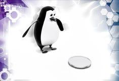 3d penguin found coin illustration Stock Photos