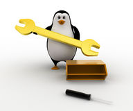 3d penguin found golden wrench in tool box concept Stock Photography
