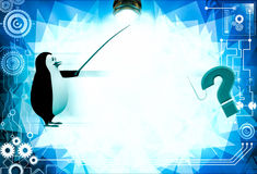 3d penguin found question mark while fishing illustration Stock Photography