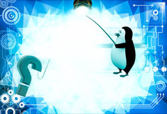 3d penguin found question mark while fishing illustration Royalty Free Stock Image