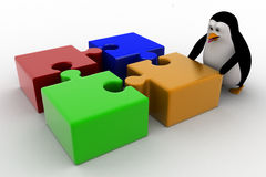 3d penguin with four different colored puzzle pieces concept Stock Photos