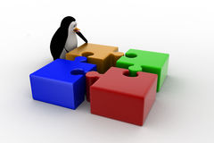 3d penguin with four different colored puzzle pieces concept Royalty Free Stock Photography