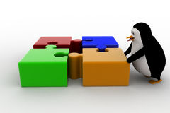 3d penguin with four different colored puzzle pieces concept Royalty Free Stock Images