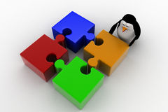 3d penguin with four different colored puzzle pieces concept Royalty Free Stock Image