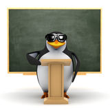3d Penguin in front of blackboard. 3d render of a penguin standing at a lectern in front of a blackboard Stock Images
