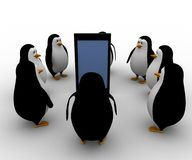 3d penguin gathered around smartphone concept Royalty Free Stock Photography