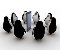 3d penguin gathered around smartphone concept Stock Photography