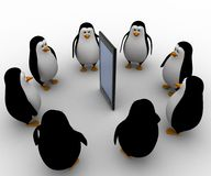 3d penguin gathered around smartphone concept Royalty Free Stock Images
