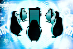 3d penguin gathered around smartphone illustration Stock Image