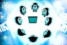 3d penguin gathered around smartphone illustration Royalty Free Stock Photo
