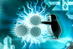 3d penguin with gears concept Royalty Free Stock Photo
