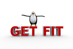 3d penguin on get fit text Royalty Free Stock Photography
