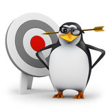 3d Penguin gets hit by an arrow Stock Images
