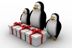 3d penguin  with gift boxes Stock Photography