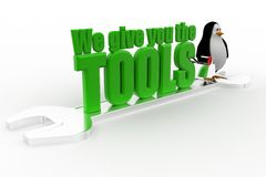 3d penguin with we give you the tools concept Stock Photo