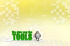 3d penguin with we give you the tools Illustration Royalty Free Stock Photo