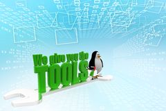 3d penguin with we give you the tools Illustration Royalty Free Stock Images