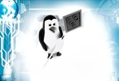 3d penguin go slow illustration Stock Image