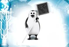 3d penguin go slow illustration Stock Photography