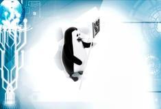 3d penguin go slow illustration Stock Photos