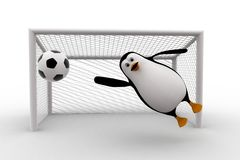 3d penguin goal keeper try to stop goal concept Royalty Free Stock Photography