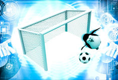 3d penguin goal keeper try to stop goal illustration Royalty Free Stock Images
