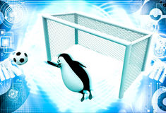 3d penguin goal keeper try to stop goal illustration Stock Photography