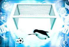 3d penguin goal keeper try to stop goal illustration Stock Image