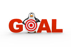 3d penguin with goal target. 3d illustration of penguin holding target of word goal. Concept of successful achieving target and goal Royalty Free Stock Photography