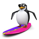 3d Penguin goes surfing Stock Image