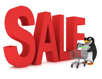 3d Penguin goes to the Sale Royalty Free Stock Images