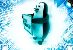 3d penguin with gol slow banner in hand Stock Image