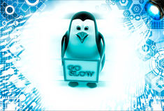 3d penguin with gol slow banner in hand Royalty Free Stock Photography