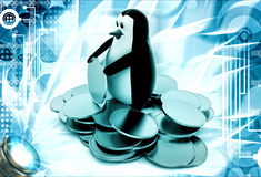 3d penguin with gold coins illustration Stock Photos