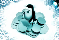 3d penguin with gold coins illustration Royalty Free Stock Photos