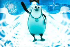 3d penguin with gold medal and raising hand illustration Stock Photo