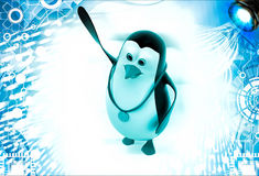 3d penguin with gold medal and raising hand illustration Royalty Free Stock Photos