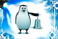 3d penguin with golden bell illustation Royalty Free Stock Image