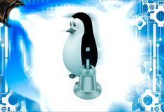 3d penguin with golden bell illustation Royalty Free Stock Images