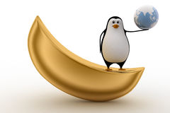 3d penguin on golden boat and holding earth in hand concept Stock Photo