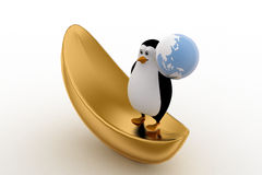 3d penguin on golden boat and holding earth in hand concept Royalty Free Stock Image